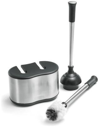 Polder Housewares Dual Bath Caddy With Brush, Black