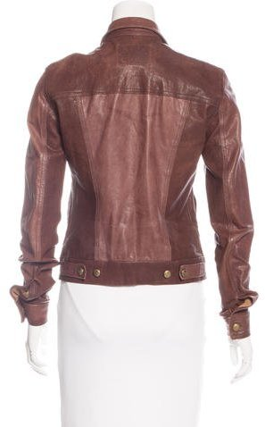 R 13 Distressed Leather Jacket