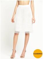 Warehouse Geo Lace Skirt - White