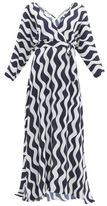 ODYSSEE Jules Wave-print Crepe Wrap Dress - Navy