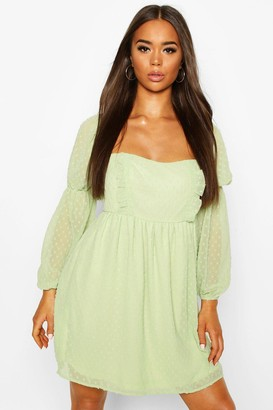 boohoo Dobby Chiffon Square Neck Dress