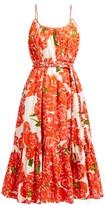 Rhode Resort Lea Floral-print Tiered Cotton-poplin Dress - Womens - Red White