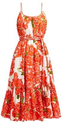 Rhode Resort Lea Floral-print Tiered Cotton-poplin Dress - Red White