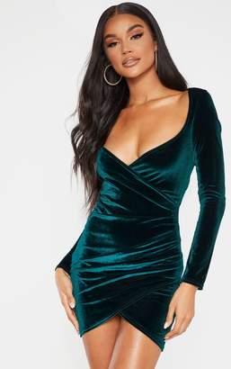 PrettyLittleThing Rose Velvet Long Sleeve Wrap Detail Bodycon Dress