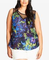 City Chic Trendy Plus Size Lace-Trim Pixel-Print Top