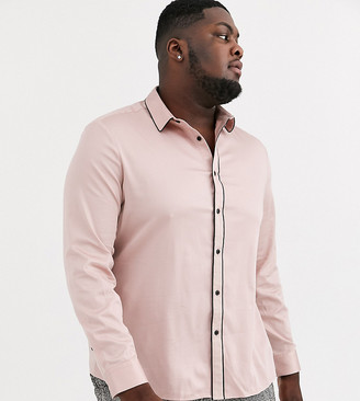 ASOS DESIGN Plus skinny fit sateen shirt with piping in dusty pink