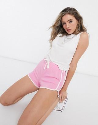 Topshop runner shorts in pink