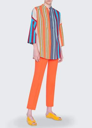 Akris Punto Parasol Striped Cotton Kimono-Sleeve Blouse