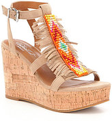 Ariat Lolita Beaded and Fringe Cork Wedge Sandals