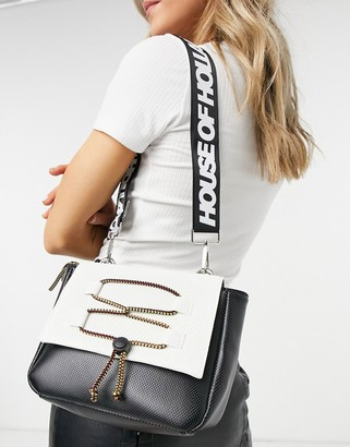 House of Holland crossbody bag with cord detail in black