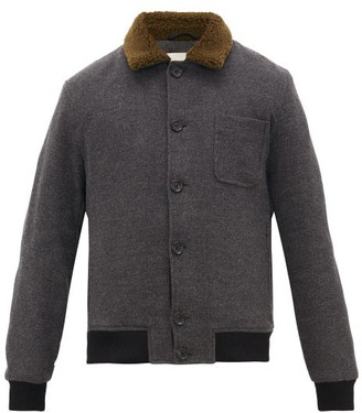 Oliver Spencer Foxham Quilted Wool And Cotton-blend Jacket - Mens - Grey