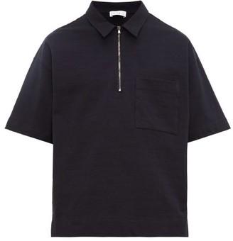 Raey Zip-up Cotton-jersey Polo Shirt - Navy