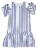 Pinc Premium Girl's Striped Cotton Cold-Shoulder Dress