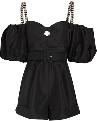 Self-Portrait Taffeta Belted Romper