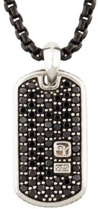 David Yurman Diamond Dog Tag Pendant Necklace black Diamond Dog Tag Pendant Necklace