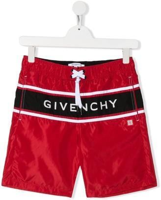 Givenchy Kids Logo Print Swim Shorts