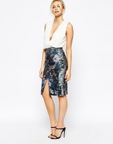 Oasis Butterfly Jacquard Pencil Skirt