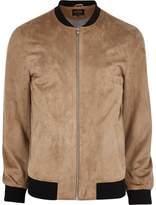 River Island Mens Beige faux suede bomber jacket