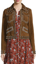 A.L.C. Blaine Studded Suede Jacket, Tobacco