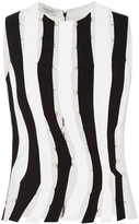 Thierry Mugler Bi-Color Fitted Cady Cut-Out Tank