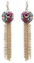 Amrita Singh Flamenco Pom Pom Drop Earrings.