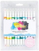 Papermania Docraft Artiste Dual Tip Permanent Brush Marker Pens Art/Craft x 12 Pastel