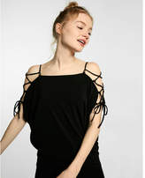 Express Lattice Shoulder Dolman Sleeve Blouse