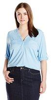 Calvin Klein Women's Plus-Size Mixed-Media Roll-Sleeve Top