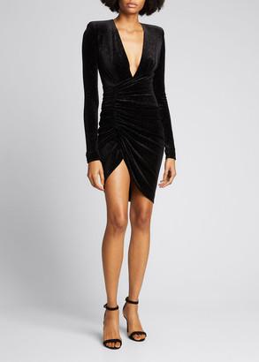 Alexandre Vauthier Sparkling Velvet Deep-V Faux-Wrap Dress