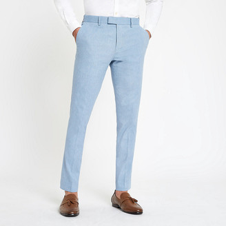 River Island Light blue skinny suit trousers with linen