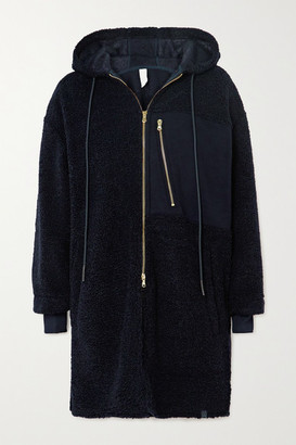 Varley Olympus Oversized Hooded Jersey-paneled Faux Shearling Coat - Navy