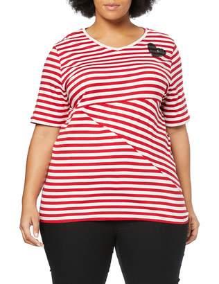 Ulla Popken Women's Groe Groen Streifenshirt Mit Paillettenherz Regular T-Shirt