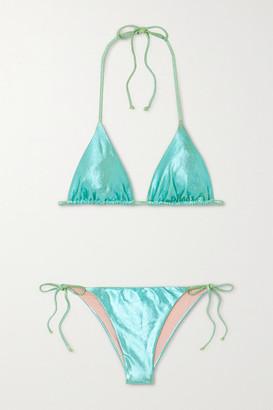 Les Girls Les Boys Metallic Triangle Bikini - Green