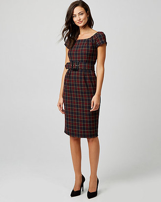 Le Château Check Print Boat Neck Sheath Dress
