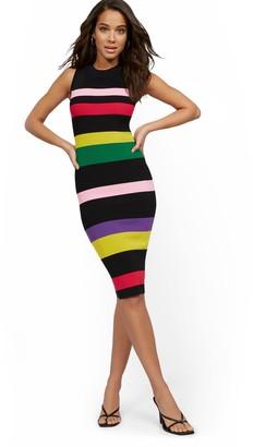 New York & Co. Sleeveless Stripe Sweater Bodycon Dress