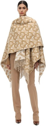 Burberry Fringed Merino Wool & Cashmere Cape