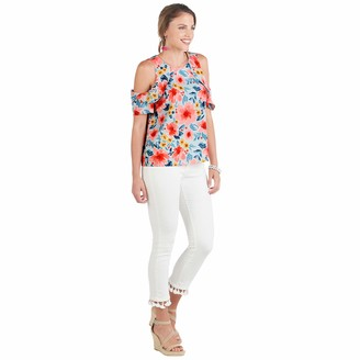 Mud Pie Women's Kimball Flounce Top Floral (Large)