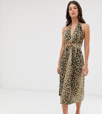 Asos DESIGN Tall halter neck midi button through linen sundress with buckle in leopard print