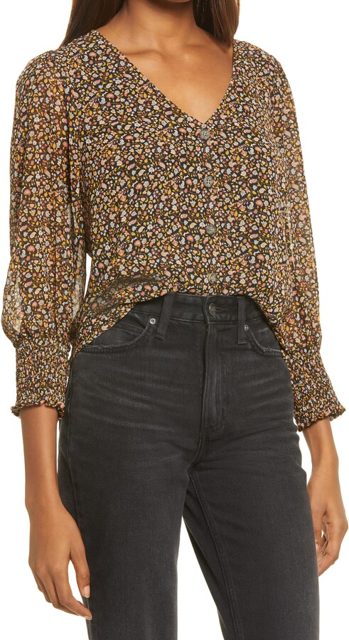 Madewell Georgette Smocked Cuff Button-Up Shirt