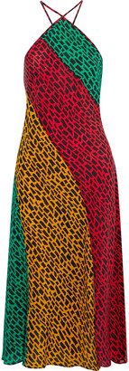 Rixo Natasha Open-back Printed Silk Crepe De Chine Midi Dress