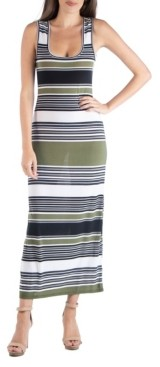 24seven Comfort Apparel Striped Scoop Neck Maxi Dress with Racerback Detail
