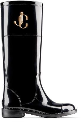 Jimmy Choo EDITH/JC Black TPU Waterproof Rain Boots with JC Emblem