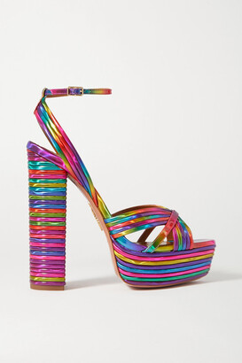 Aquazzura Sundance 140 Metallic Faux Leather Platform Sandals - Pink