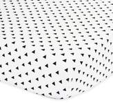 The Peanut Shell Triangle Fitted Crib Sheet in Black/White