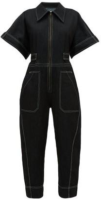 Ssōne Ssone - Contrast-stitch Denim Jumpsuit - Womens - Black