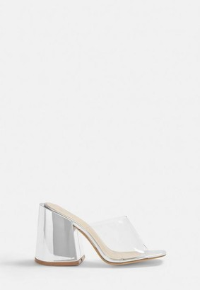 Missguided Silver Chunky Heel Clear Strap Mules