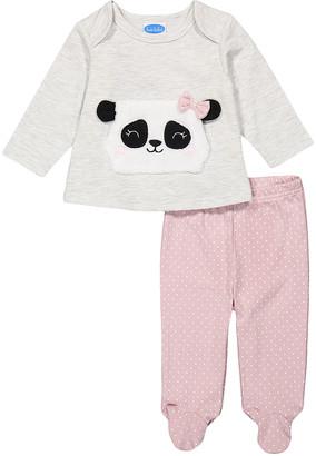 Bon Bebe Girls' Leggings ASSORTED - Light Gray Panda Tunic & Pink Polka Dot Footie Leggings - Newborn & Infant