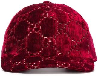 Gucci red logo print cap
