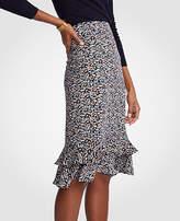 Ann Taylor Petite Floral Ruffle Pencil Skirt