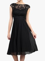 Jolie Moi Lace Bodice Pleated Dress, Black